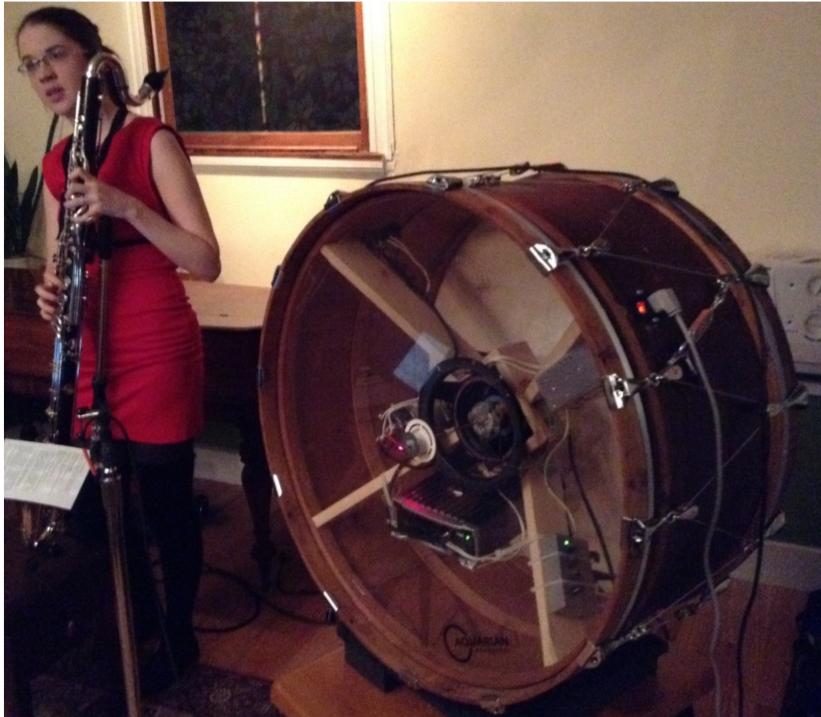 The EMdrum with bass clarinetist Heather Roche.